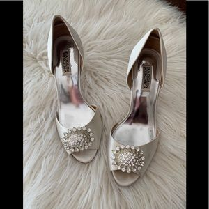 Badgley Mischka Bejeweled Silk Pumps